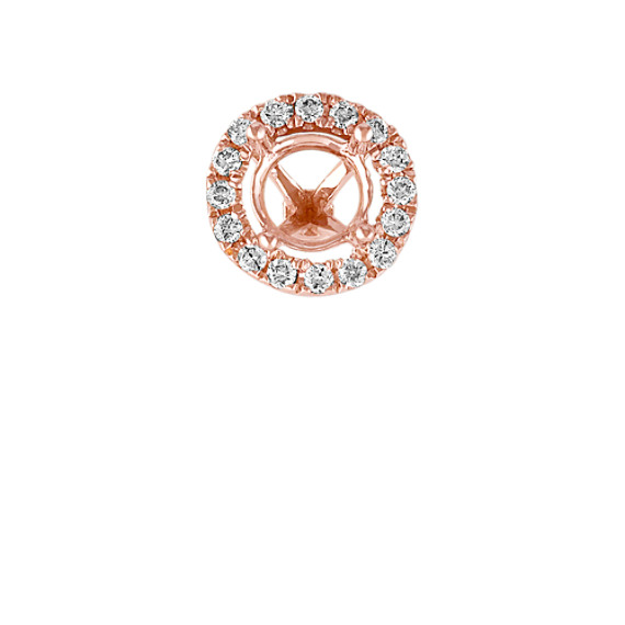Diamond Halo Head in Rose Gold to Hold .50 ct. Round Stone