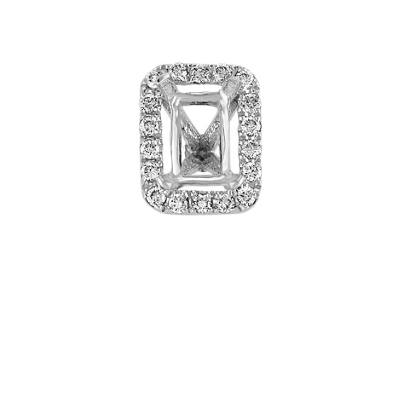 Diamond Halo Head in White Gold to Hold .50 carat Emerald Cut Stone
