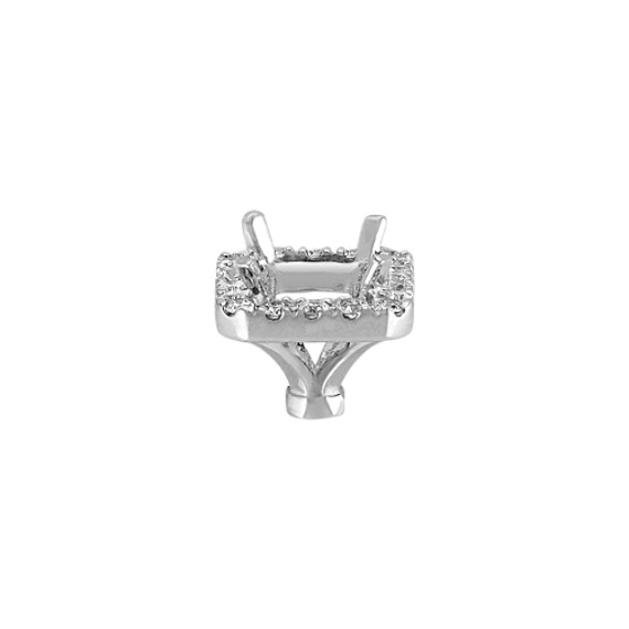 Diamond Halo Head in White Gold to Hold .75 carat Emerald Cut Stone image