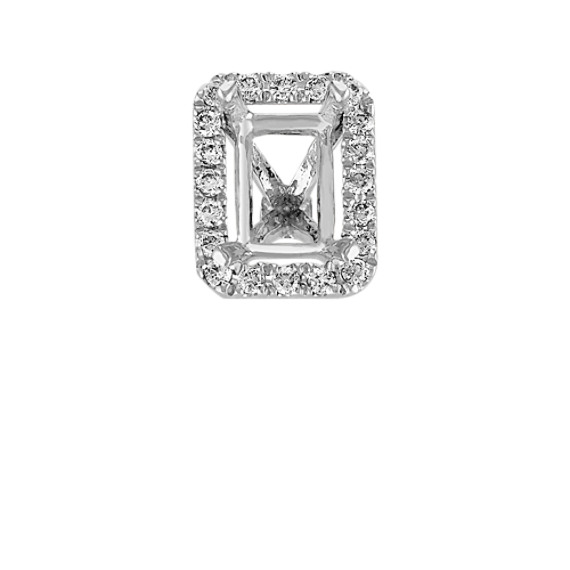 Diamond Halo Head in White Gold to Hold .75 carat Emerald Cut Stone