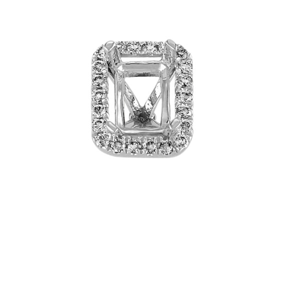 Diamond Halo Head in White Gold to Hold 1 Carat Emerald Cut Stone