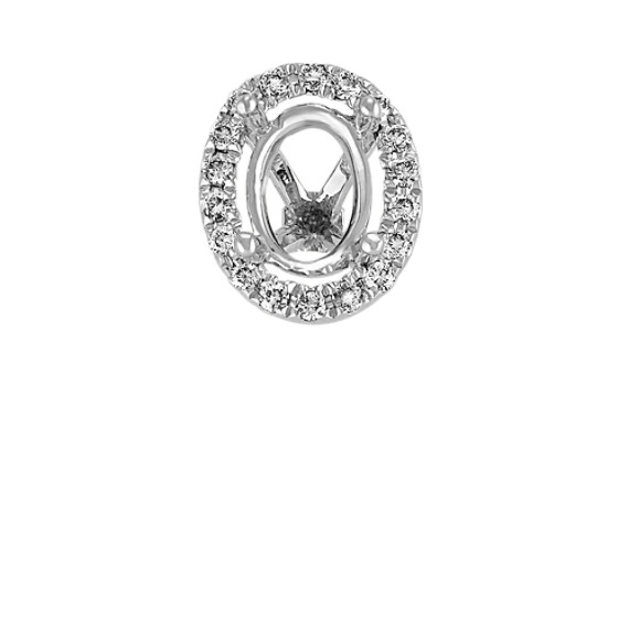 Diamond Halo Head in White Gold to Hold 1 ct. Oval Stone
