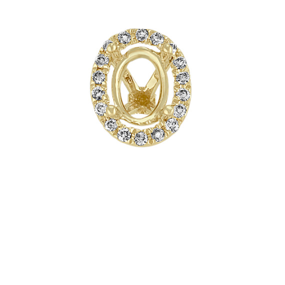 Diamond Halo Head in Yellow Gold to Hold 1 ct. Oval Stone
