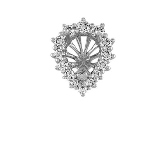 Diamond Halo Decorative Crown to Hold .75 ct. Pear-Shaped Gemstone