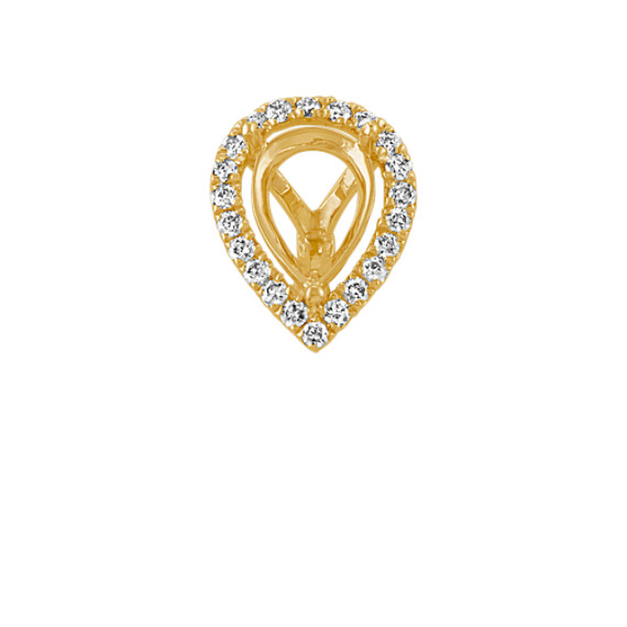 Diamond Halo Decorative Crown to Hold 0.75 Carat Pear-Shaped Gemstone
