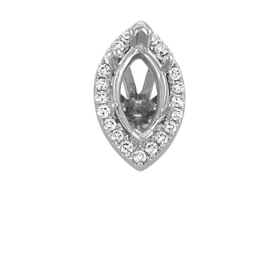 Diamond Halo Head to Hold 1.00 carat Marquise Stone