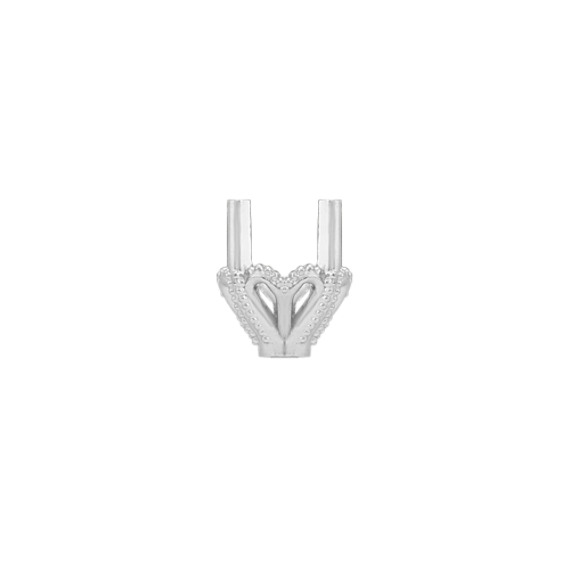 Hidden Heart with Milgrain Detail Decorative Crown