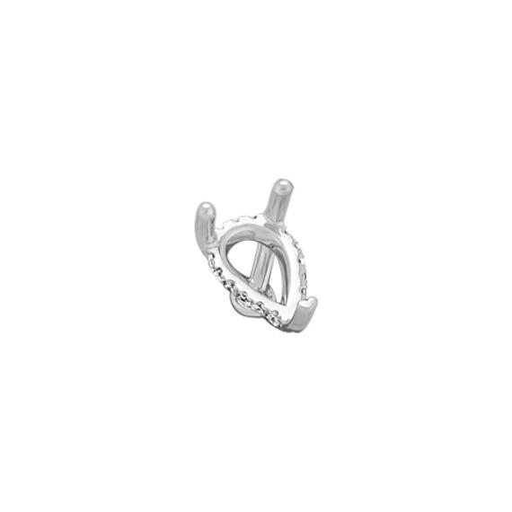 Diamond Accent Decorative Crown for 1.50 ct. Gemstone