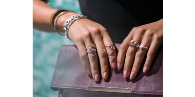 Mobile Image Of Close Up of Two Fashion Rings on Woman's Hand