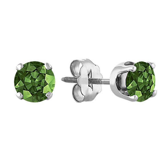 Green Sapphire Studs in White Gold