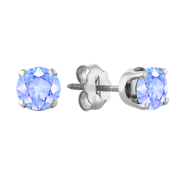 Ice Blue Sapphire Studs in White Gold