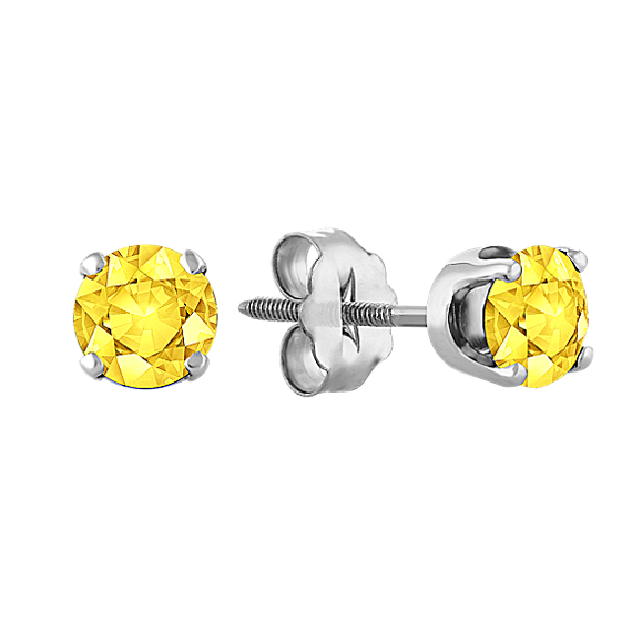 Yellow Sapphire Studs in White Gold
