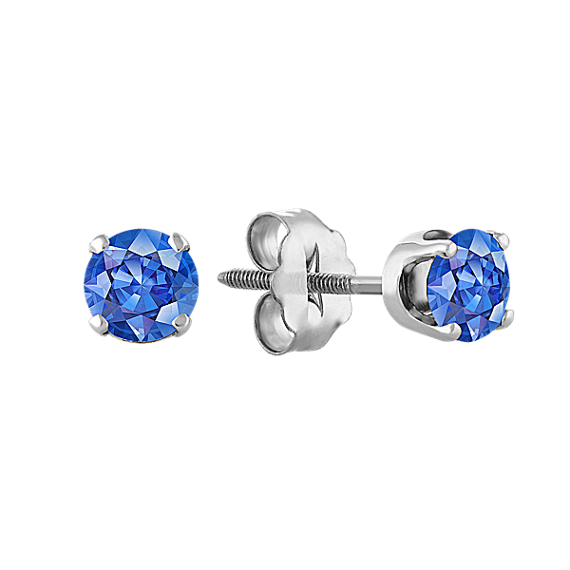 Kentucky Blue Sapphire Studs in White Gold