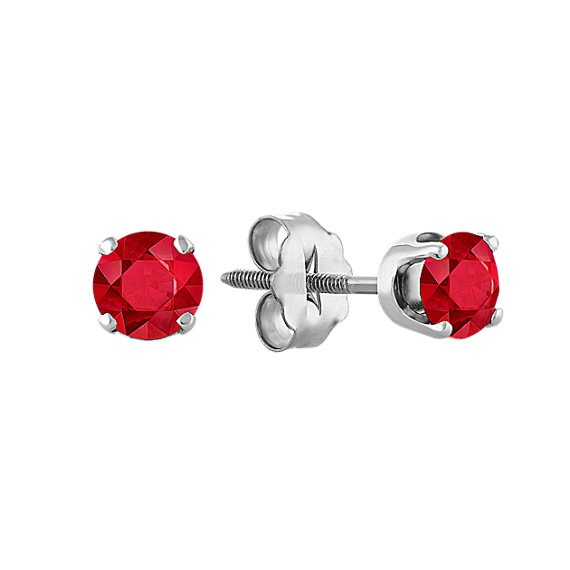 Ruby Studs in White Gold