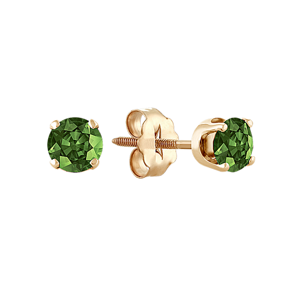 Green Sapphire Studs in Yellow Gold