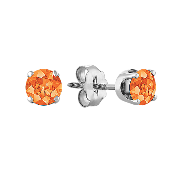 Orange Sapphire Studs in White Gold