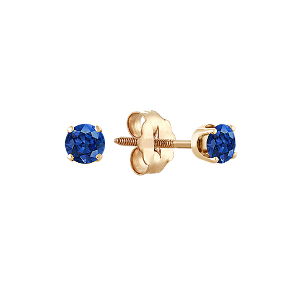 Traditional Blue Sapphire Studs in Yellow Gold