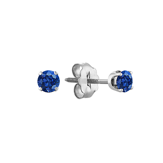 Traditional Blue Sapphire Studs in White Gold