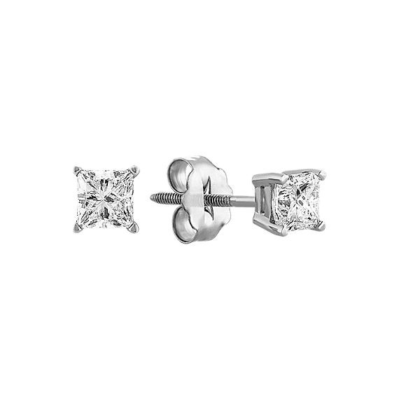 Princess Cut Diamond Stud Earrings in White Gold