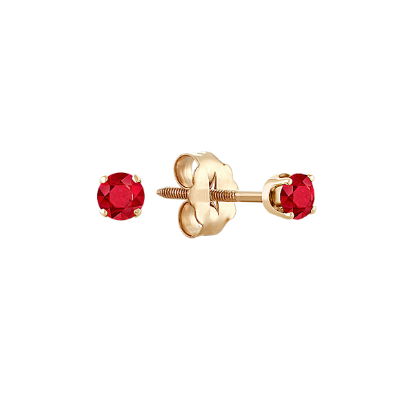 Ruby Studs in Yellow Gold