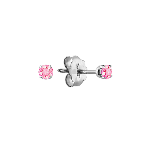 Pink Sapphire Studs in White Gold