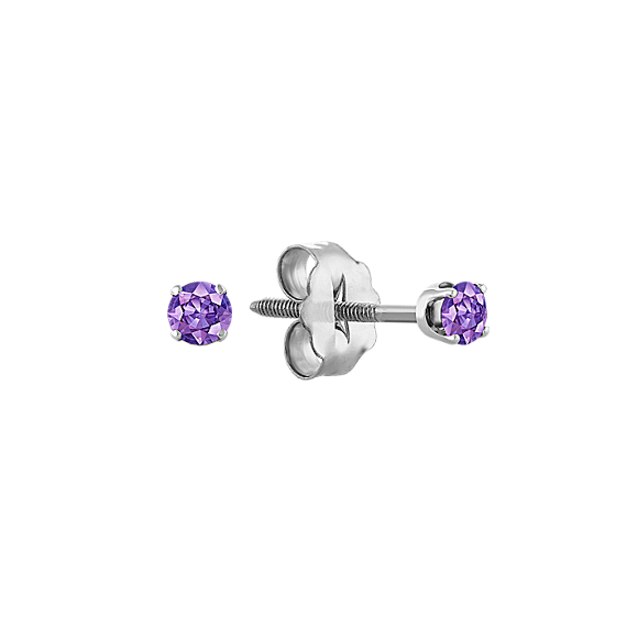 Lavender Sapphire Studs in White Gold