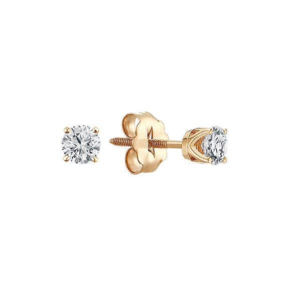 Round Diamond Stud Earrings in Yellow Gold