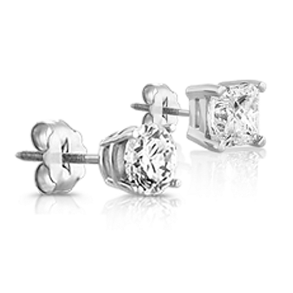 Round Diamond Stud Earrings in White Gold