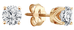 Round Diamond Stud Earrings in Yellow Gold