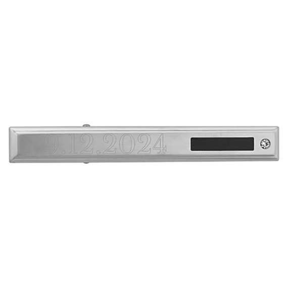 Stainless Steel Tie Clip with Diamond and Black Enamel Accent