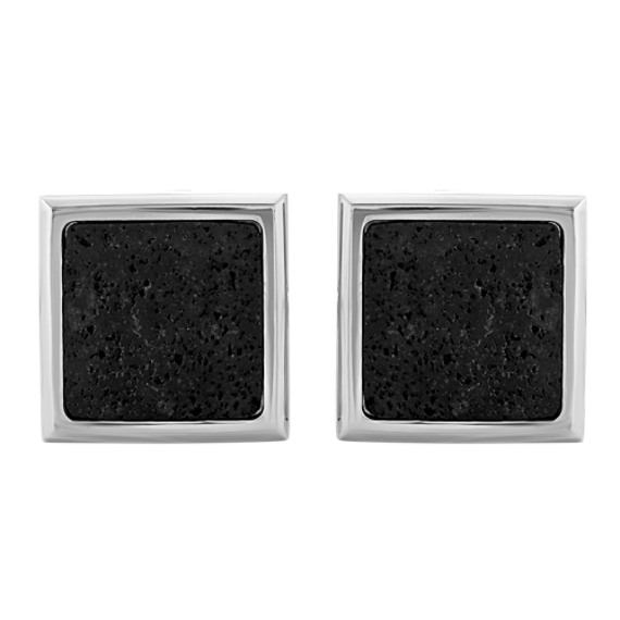 Stainless Steel Cuff Links with Lava Stone Inlay