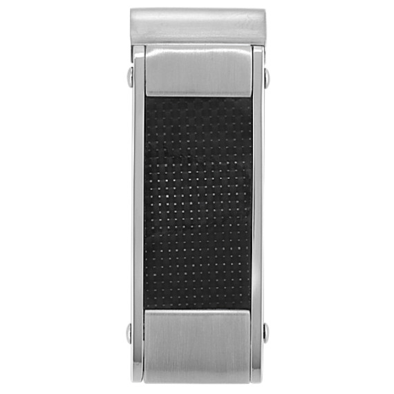 Stainless Steel and Black Carbon Fiber Money Clip
