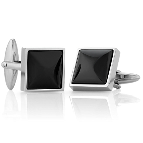 Sterling Silver Cuff Links with Black Onyx Inlay image