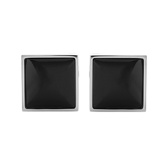 Sterling Silver Cuff Links with Black Onyx Inlay
