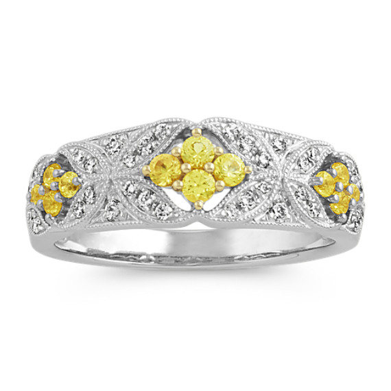 Vintage Yellow Sapphire and Diamond Ring